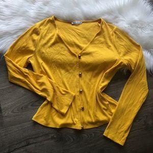 Zara yellow gold button v Neck cardigan sweater L